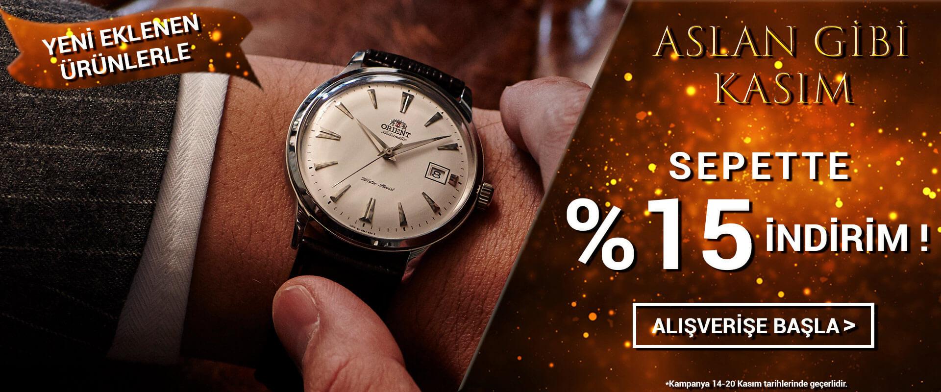 Aslan Gibi Kasım Orient Saat Sepette %15 İndirim